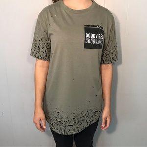 Good Vibes Distressed Long Short Sleeve Shirt